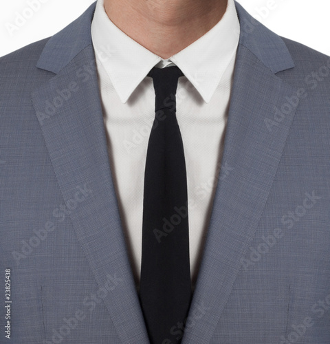 Man with costume and black tie isolated on white