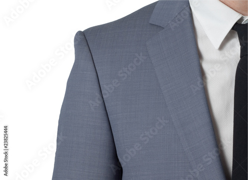 man with costume and black tie, isolated on white