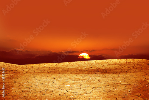 Foto op Canvas Baksteen A background image of dried and cracked soil