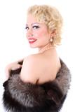 Blondie woman with fur collar. Marilyn Monroe imitation poster