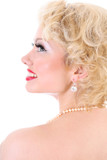 Young blondie woman. Marilyn Monroe imitation poster