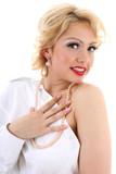 surprised blondie woman. Marilyn Monroe imitation poster