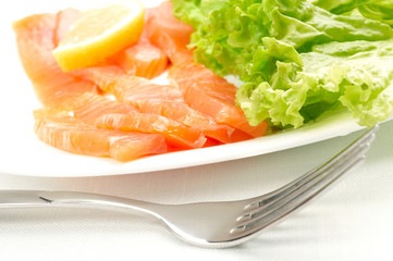 Salted salmon on white plate