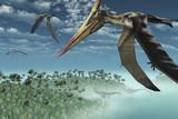 Prehistoric Morning - Flying Overhead-3D render poster