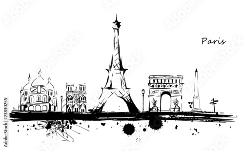 Paris monuments ligne stock image and royalty free vector files o - Stickers muraux paris ...