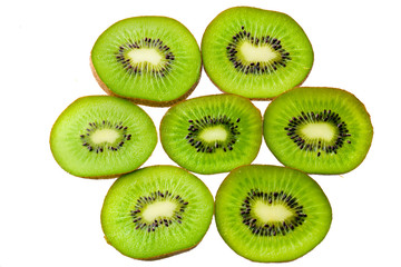 Fresh sliced kiwi isolated on white