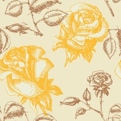 Retro seamless background with roses