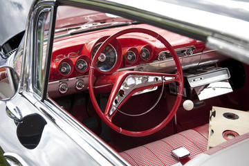 Classic Red Car Steering Wheel
