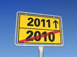 Jahreswechsel-Schild 2010 - 2011