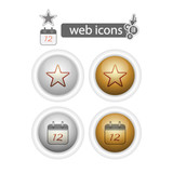 round web icons-favorites and calendar poster