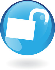 Glossy open padlock in blue button isolated on white