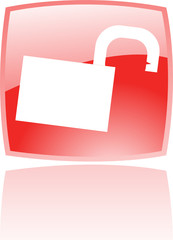 Glossy open padlock in red button isolated on white