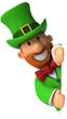 Lutin irlandais et panneau blanc