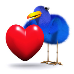 3d Blue bird in love