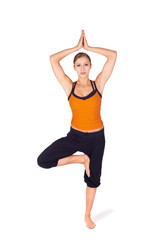 Fit Attractive Woman Practicing Yoga Tree Pose
