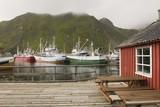 Fishing boats in harbour of Lofoten Islands, Norway