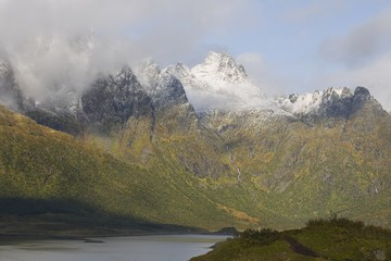 Cloud cover on mountains, Lofoten Islands, Norway