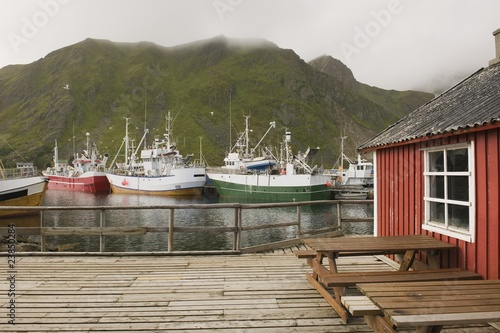 Fishing boats in harbour of Lofoten Islands, Norway