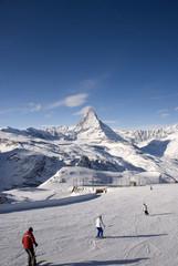 Matterhorn with skiers