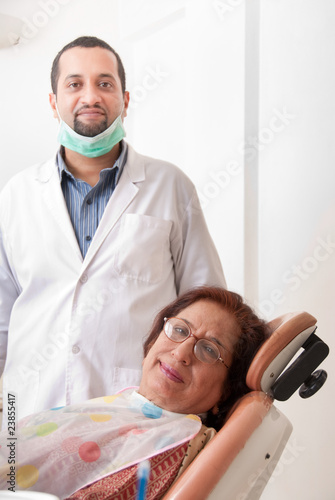 Dentist and patient in a clinic