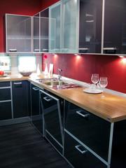 Rote Glas Holz Küche