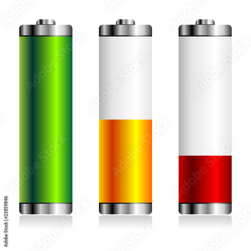 Batteries with different charge levels over white background