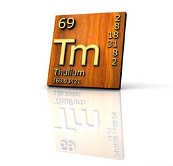 Thulium form Periodic Table of Elements - wood board