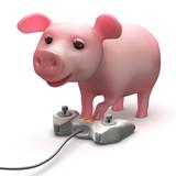 3d Piggy video gamer poster