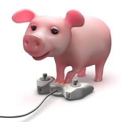 3d Piggy video gamer