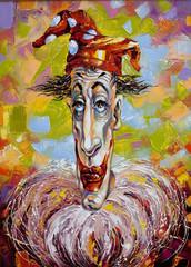 Portrait of the clown in a cap