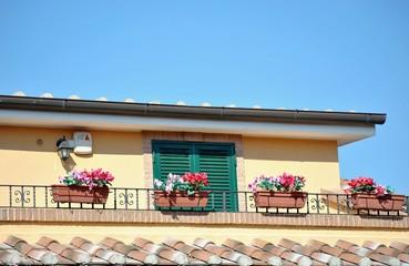 Casa con balcone e vasi di fiori