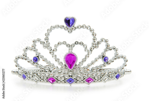 Silver diadem isolated on the white background - 23865277