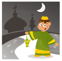 Happy kid going to the mosque in ramadan