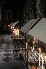 Votive candles St Denis Former Collegiate Church Liege Belgium