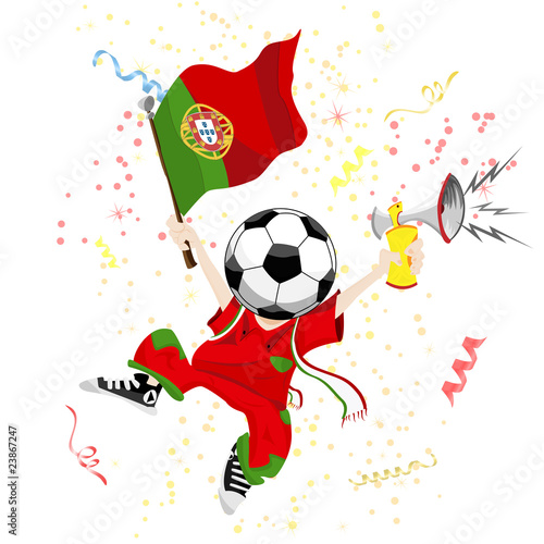 Portugal Soccer Fan with Ball Head.