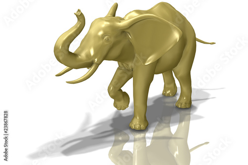 Glassy Gold Elephant