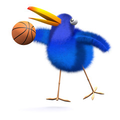3d Blue bird basketball