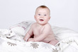 Very Cute Baby Boy on Duvet against Grey Background