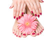 Pink manicure and pedicure with a delicate flower
