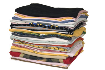 stack of colored t-shirts