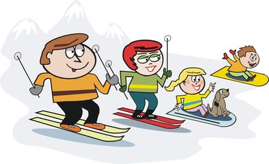 Family skiing cartoon