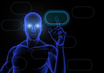 Humanoid touching a blue virtual screen