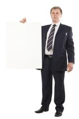businessman holding blank cardboard