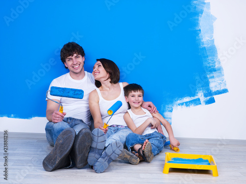 Friendly family doing renovation
