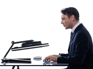 Man relationship with computer breakdown concept