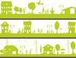 vie dans une ville verte , avec personnages dans la rue