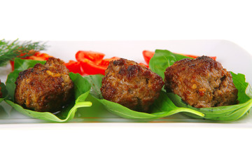 beef meat cutlet with tomatoes