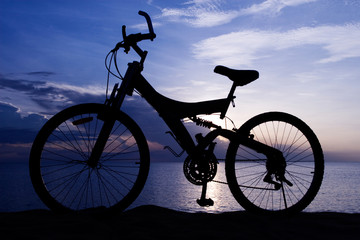 Silhouette of a Bike on the Beach
