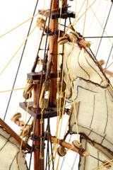 mâts, voiles, voilier, maquette, fond blanc