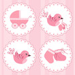 roleta: Baby arrival card. Design elements.